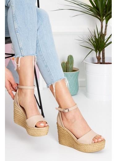 Derithy Vınle Dolgu Topuklu Ayakkabı -Mınt Yeşılı-Lzt0590 Ten